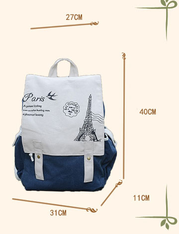 College Style Eiffel Tower Canvas Bag Schoolbag Backpack