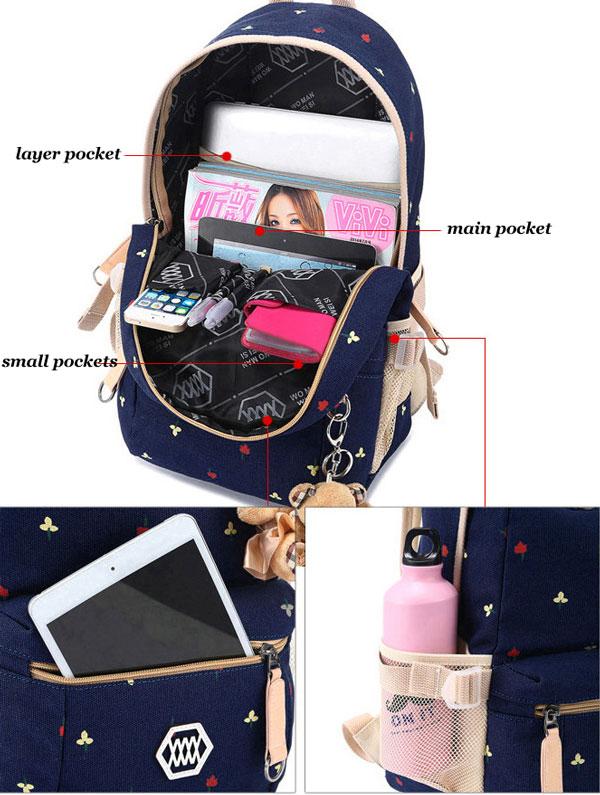 Floral Print Canvas Student Bag School Bag Backpack