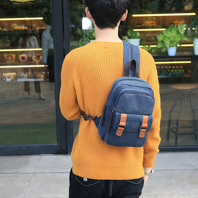 Leisure Small Splicing Belts Canvas Multifunction Shoulder Bag Dual-purpose Backpack
