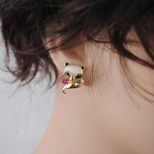 Adorable Fox Animal Opal Studs Earrings Jewelry