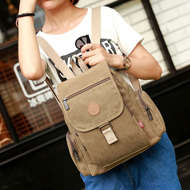 Retro Unisex Flap School Bag Leisure Thick Canvas Travel Backpack