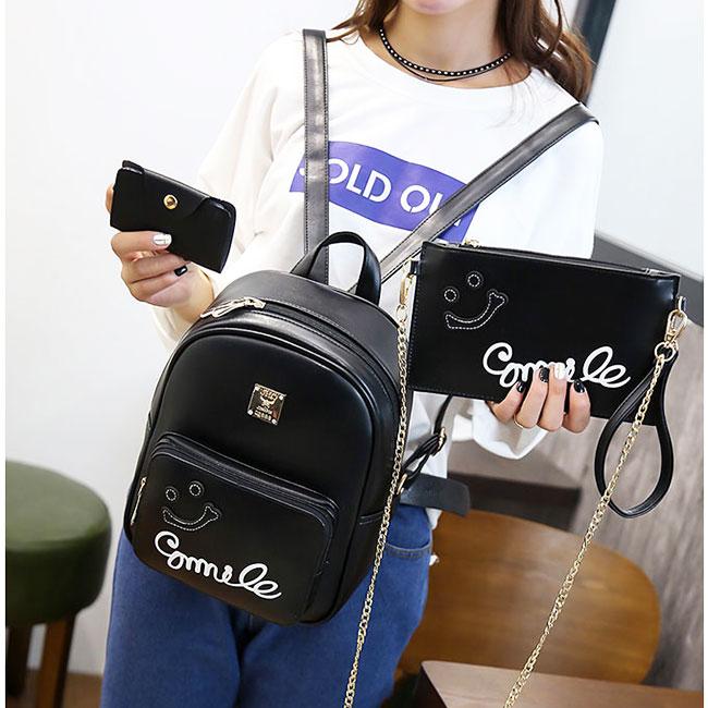 Fresh Smile Face Black Pink Solid School Backpack