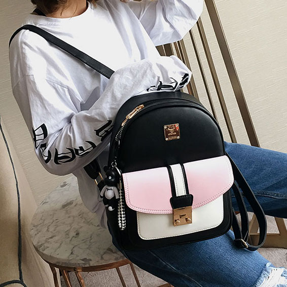 Sweet Women Contrast Color Girl's School Bag Small Black PU College Backpack