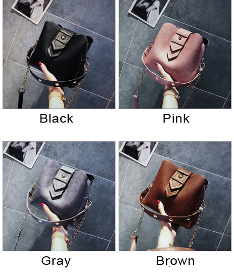 Fashion Chain Strap Soft PU Single Buckle Handbag Women Shoulder Bag
