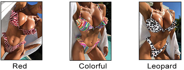 New Ruffle Stripe Colorful Leopard Swimsuit Sling Women Summer Bikinis
