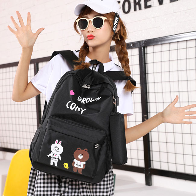 Fresh Cartoon Cat New York Bear Print USB Waterproof Large Student Bag School Backpack