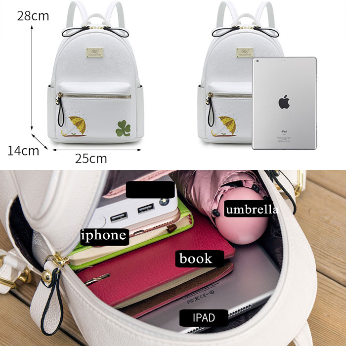 Leisure Mini Embroidery Clover Umbrella Cartoon Soft PU Student Small Backpack