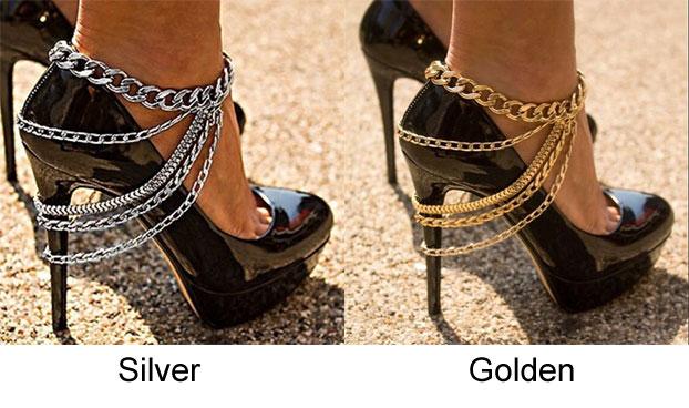 Punk Alloy Footwear Street Feet Accessory Anklet Style Multi-layer Tassel Anklet