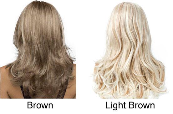 New Wave Gradient Brown Hair Wig Medium Long Lady Hair Wig