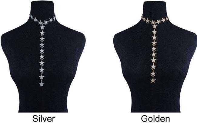 Fashion Long Diamond Star Chain Personality Women Necklace