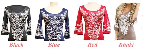 Women's Half Sleeve Paisley Printing National Style Loose Skirt