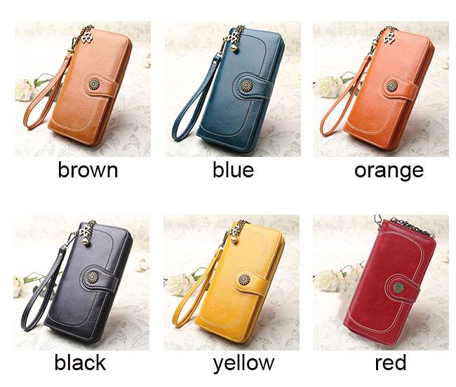 Retro Ladies Oil Wax Mobile Phone Wallet Zipper Women Purse Clutch Bag