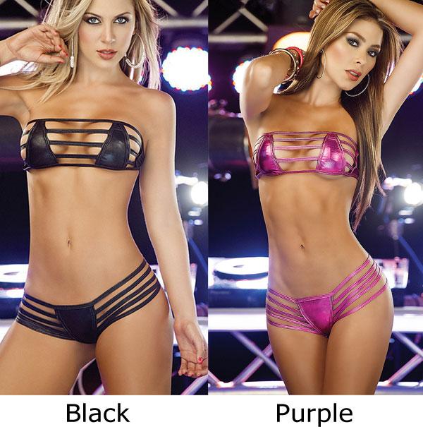 Sexy Bandage Women Patent Leather Bikinis Lingerie
