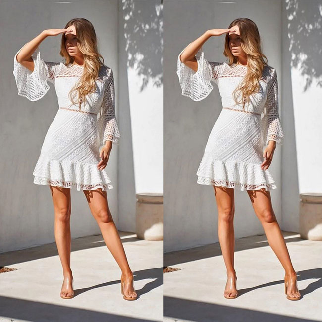 Sweet Hollow Long Sleeves Round Neck Ruffled Skirt Lace Summer Dress