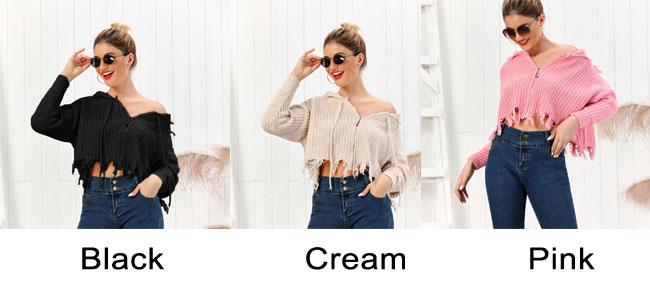 Leisure Knit Hooded Multi-color Short Fringe Women Sweater Tassel Long Sleeve Cardigan