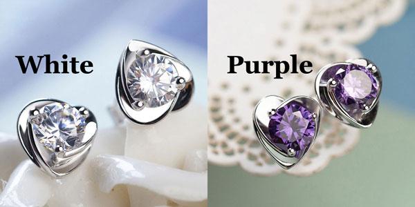 Charming Purple Diamond Zircon Elegant Heart-shaped Silver Earrings