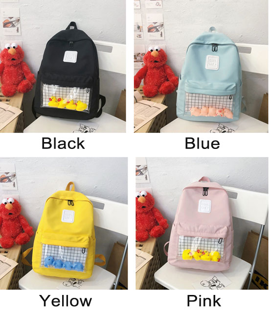 Lovely Cartoon Duck Elephant Pig Doll Student Bag Simple School Backpack