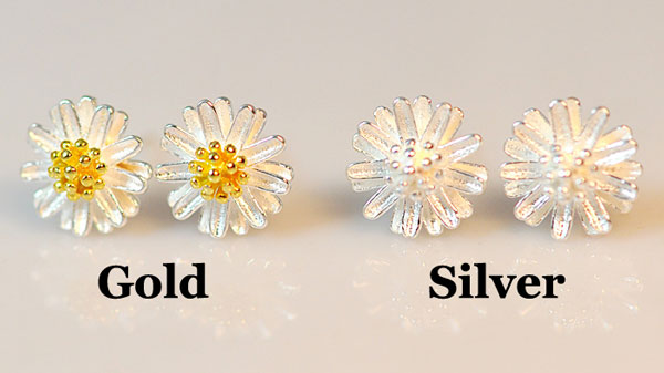 Sweet Daisy Flower Yellow Stamens Sterling Silver Fresh Earring Studs