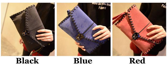 Vintage Matte Envelope Messenger Bag Sewing Thread Clutch Bag