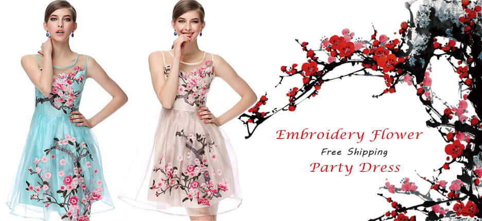 Handmade Embroidery Flower Organza Party Dress in ByGoods